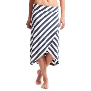 Athleta Ribbon Striped Midi Skirt Blue White XXS